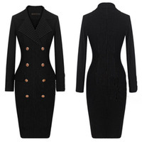 Cheap Fall New Arrival Womens Sexy Slim Fit Stripe Pencil Dress Double-Breasted Tailored Collar Long Sleeve Ladies OL DRESS