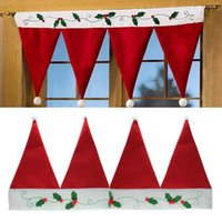 beige curtain valance - Christmas Santa Hat Home Festival Party Window Valance Curtain Pennant Decor