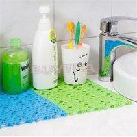 Wholesale 2014 New Practical Plastic Rubber Non slip Shower delicate Bathroom Massage Mat Mosaic Bath Mat Random Color