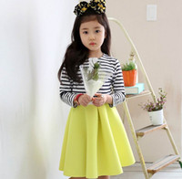 american girl clothes - 2015 Autumn New Children Clothes Girl Sets Stripe Long Sleeve T shirts Memory Foam Skirt Piece Girl Fashion Fashion Sets Y
