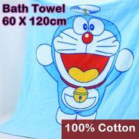 beach towel favors - 120 x cm Kid Cotton Bath Towel Toalha Cartoon Doraemon Print Baby shower favors Outdoor beach airplane Wrap Towels Gift