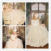 Wholesale 2014 Generous Flower Girl Dresses Featuring Bouquet Sash Bodice Edged Vintage Venice Lace Trim On The Skirt Embroidery Pearls Princess Style