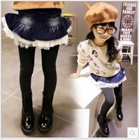 Wholesale Girls Pantskirt Autumn Children Kids Clothes Ruffles Denim Fabric Lace Tulle Spilcing Skirt Leggings Tights Girl Gray cm K1763