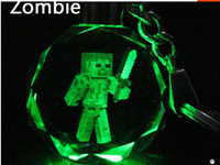 Wholesale Minecraft Crystal LED Keyring Dazzle Colour Key Chains laser engraving collectible Beautiful gift and present