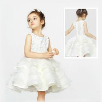 Wholesale new high Quality Handmade flowers Children princess dress White girls dress Flower Girls Dresses Princess tutu dress