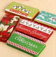 Cheap Fashion snowman tin storage pencil case small gift card box decoration for chirstmas 5pcs lots mix color free shipping