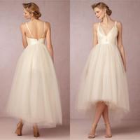 Wholesale 2015 Summer Tea Length Tulle Wedding Dress with Sexy Deep V Neck Spaghetti Elegant Champagne Short Front Long Back Open Back Bridal Dresses