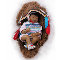 american model doll - Native American Indian reborn baby doll Vinyl Silicone cm Babies Doll Lifelike express Toys for Children Gift Closed Eyes