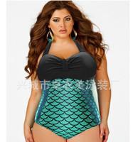Bikinis beachwear swimsuits - Fashion Plus size One Piece Swimsuit Hot Beachwear Vintage Bathing Suit High Waist Plus Size Women Mermaid Swimwear Bodysuit New style