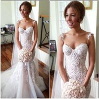 Wholesale 2016 Stunning Steven Khalil Spaghetti Straps Mermaid Wedding Dresses Full Length Appliqued Lace Fitted Backless Bridal Gowns