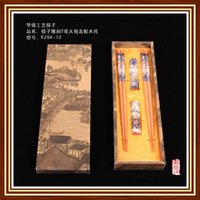 beautiful wood boxes - Pairs Chinese Handmade Classical wooden Original Wood Color Beautiful Scenery Chopsticks amp Rectangle Support With Gift Box