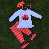 turkey - Thanksgiving day holiday outfits new girls design suit turkey top stripes pant set with matching necklace and headbans set