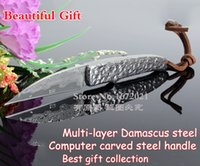damascus hunting knife - HOT VG10 handmade damascus hunting knife Computer carved steel handle outdoor camping survival rescue tactics fixed knife