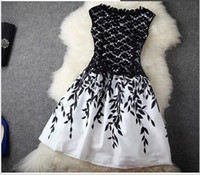 summer dresses for women - 2014 New Fashion Embroidery Lace Sleeveless Cheap Plus Size For Women Black White Dress Celebrity Dresses Summer Runway Dress