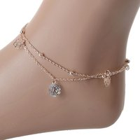 Wholesale 2015 hot sale Gold Simple Hollow Rose Crystal Bead Anklets Female Multilayer Anklets Anklets Jewelry Crystals