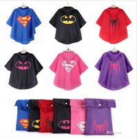 Wholesale 2015 style kid superhero RainCoats with bag superman batman spiderman waterproof RainCoat superhero Raincoat Rainwear Rainsuit BBA3457