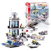 Building Blocks plástico Educación juguete Aviones Barcos Modelo de construcción Departamento de Policía Marítima Kits Centro de Comando niños Juguetes