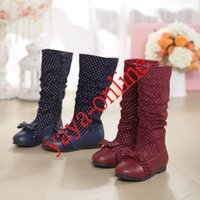 Wholesale 2014 Winter Bowknot Boots Fashionable Dotted Snow Boot Zippered SZ Red Blue able mix any size color