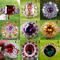 topaz - 2015 Lady Women Cocktail Prom Homecoming Party AR4 Free Ship Round Cut Citrine White Topaz Gemstone K Platinum Plated Ring Mixed