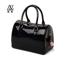 Wholesale 2015 Women s New Hot Handbag transparent fashion bag candy color crystal jelly beach bags medium Color