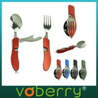 Wholesale New outdoor camping Tableware set with fork knife spoon Portable tableware alfresco Forks quality first