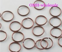 Wholesale OMH X7mm Jewelry accessories DIY circle Red Copper Plated Open Metal Jumping Rings Finding DY55