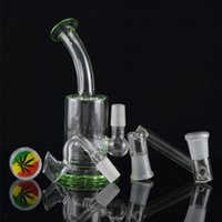 mini bucket - Two Function Mini Bubbler Glass Ash Catcher Height with Free Curved Bucket Nail mm Joint Glass Drop Down Percolater Water Pipe Green