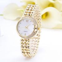 ball watch straps - Luxury Brand Women Gold Watch New Fashion Full Rhinestone Moon Ladies Dress Watch String Ball Strap Wristwatch Clock Women Hot