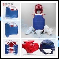 Wholesale 1set Boxing Taekwondo Thai protective gear kit chestguard Jockstrap head helmet elbow guard leg guard chest shin protector