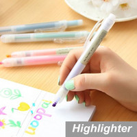 Wholesale 10 Highlighter pen Candy color Scrub body Marker paint Stationery Office material School supplies