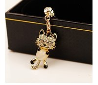 beckoning cat - phone dust plug opal air dust plugs fashion over drilling beckoning cat TORA mobile phone accessories LM_ P072
