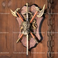 antique axes - Plastic vintage Middle age European wall hangings double swords axes decorative ornament for hall Club living room Decos