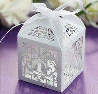 boxes for candy - Hot sale laser cut hollow love birds candy box wedding supplies chocolate box Party favor gift box for guest with ribbon