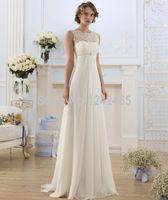 Wholesale Stylish Bridal Dresses - Elegant A-line bridal lace round neck sleeveless chiffon wedding dress sexy perspective stylish simplicity Slim A-line bridal wedding