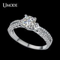 Wholesale UMODE Split Shank Micro CZ pave Engagement Ring for Women with mm Ct Cubic Zirconia Female Fashion Engagement Ring UR0037