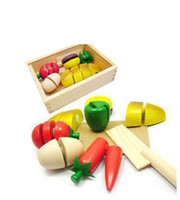 Wholesale kids kitchen cooking set Children Toys educational toys wooden box play food artificial fruit crate bread food play house Toys BJ031