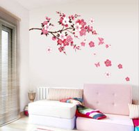 Wholesale New Peach Cheery Blossom Plum Flower Butterfly Floral Wall Sticker Decal Decor PP9053