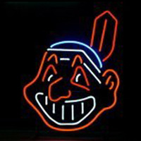 baseball displays - 17 quot x14 quot MLB Cleveland Indians Baseball design Real Glass Neon Light Signs Bar Pub Restaurant Billiards Shops Display Signboards