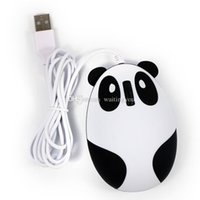 Wholesale Factory Price Cute Panda Style Computer Wired Mouse Compatible with Windows Linux Android Mac black wih white color goodbiz