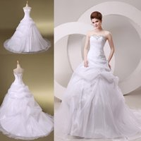 bridal gown sweep train - 2015 New In Stock A Line Wedding Dresses Bridal Gown With Sweetheart Lace up Back Sequins Appliques Beading Draped Sweep Train SW028 Cheap