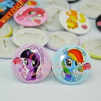 Wholesale New Arrival My Little Pony Kids Cartoon Tin Buttons pins badges MM Round Brooch Badge Kids Toy Kids Party Favor