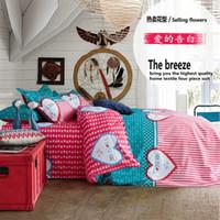 Cheap cotton home textile bedding set denim style Double quilt bedspread  solid bed sheet duvet cover