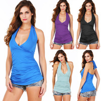 Women Tank Top Solid Women's Summer Sexy Ruched Deep V Neck Low Cut Halter Top with Stretch
