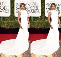 al por mayor vestido blanco globo de oro-2016 Globo de Oro Laverne Cox Celebrity Vestidos Sexy O Cap Sleeve Blanco Vestidos de Noche abiti da cerimonia da sera Vestido de Alfombra Roja