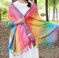 Wholesale Retro National Teng Flowers Rainbow Tourism Jacquard Fringed Scarves Christmas Lady Pashmina Oversized Tartan Scarf Wrap Shawl Gradient Cape