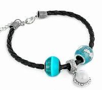 Wholesale New Arrival Fashion Luminous Bracelet Sky Blue Leather Weave Beads Bracelet Pearl Alloy Charm Jewelry Hot On Ebay