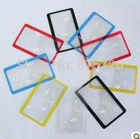 Wholesale retail gift Ultra thin Credit X Card magnifier red blue yellow black transparent
