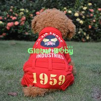 air force hair - Red Navy Blue Cotton Warm Pet Dog Jumpsuit USA Air Force Printed Pets Dogs Coat Clothes