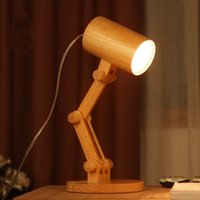 Cheap Wood Table Lamp cylinder Folding Table Lamp contracted contemporary style Ikea Bedroom Living Room Study Desk Light