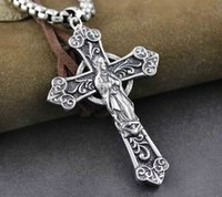 stainless steel cross pendant - Mens Biker Stainless Steel Cross Pendant Necklace Chain
